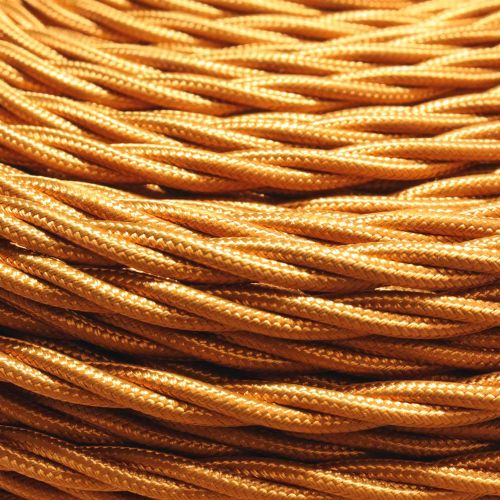 5 Metre pack 0.50mm 3 core Antique Gold Silk Covered Flexible Cable